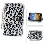 KALAIDENG Leopard Style Protective PU Leather Case for Samsung Galaxy Note i9220 - White + Black