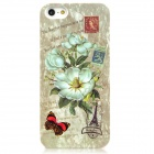 Flower + Stamps Style Protective Plastic Back Case w/ Water Resistant Bag for iPhone 5 - Green
