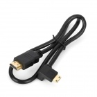 HDMI Male to 90 Degree Mini HDMI Male Connection Cable - Black (55cm)