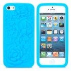 3D Rose Pattern Protective Silicone Case für iPhone 5 - Blue