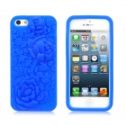 Rose Embossed Stil Protective Anti-Skid Silikon zurück Fall für iPhone 5 - Dark Blue