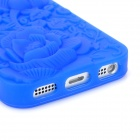 Rose Embossed Style Protective Anti-Skid Silicone Back Case for iPhone 5 - Dark Blue