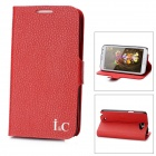 I&C Lychee Pattern Protective PU Leather Case for Samsung Galaxy Note II N7100 - Red