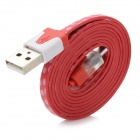 Micro USB Data / Charging Flat Cable w/ Light Effects for Samsung N7100 / i9300 - Red + Wihte