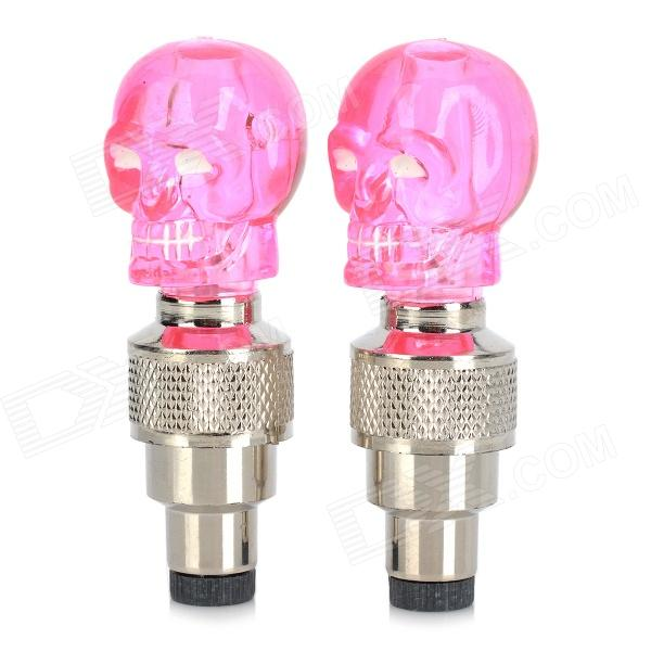 Skull Style Motion Activated Blue Wheel Light for Bike / Motorcycle / Car - Pink (3 x AG10 / 2 PCS)