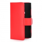 Protective PU Leather Cover PC Back Case w/ Card Slots for Nokia Lumia 920 - Red