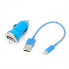 Car Cigarette Lighter Plug Charger w/ USB 8 Pin Lightning Cable for iPhone 5 - Blue