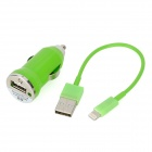 Car Cigarette Lighter Plug Charger + USB 8 Pin Lightning Data & Charging Cable for iPhone 5 - Green