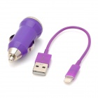 Car Cigarette Powered Charger w/ Charging Cable for iPhone 5 - Purple
