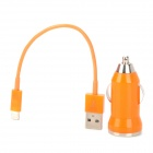 Zigarettenanzünder Power Adapter + USB Male Lightning 8-Pin-Stecker-Kabel für iPhone 5 - Orange