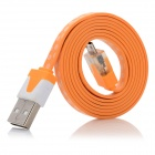 USB 2.0 to Micro USB Data / Charging Flat Cable w/ Light Effects for Samsung N7100 / i9300 - Orange