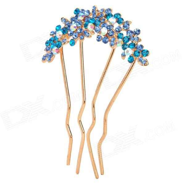 Elegant Rhinestone + Iron Flower Decoration Hairpin - Blue + Golden