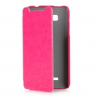 KALAIDENG Protective PU Leather Case for HTC T528w (One SU) - Deep Pink