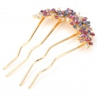 Fashion Flower Style Lady's Rhinestone + Iron Hairpins - Golden + Purple Red