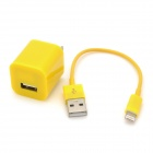 USB Data & Charging Cable + US Plug Power Adapter for iPhone 5 - Yellow