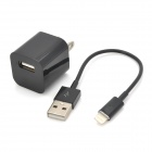 USB Data & Charging Cable + US Plug Power Adapter for iPhone 5 - Black
