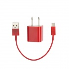 USB AC Power Charger Adapter w/ Lightning 8-Pin to USB 2.0 Cable for iPhone 5 - Red (US Plug)