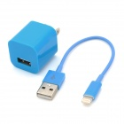 USB Data & Charging Cable + US Plug Power Adapter for iPhone 5 - Blue
