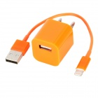 US Plug Power Adapter + 8 Pin Lightning Male to USB Male Cable Set for iPhone 5 - Orange