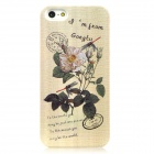 Flower + Stamps Style Protective Plastic Back Case w/ Water Resistant Bag for Iphone 5 - Beige