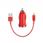 2-in-1 Car Cigarette Lighter Charger + USB Cable for iPhone 5 - Red