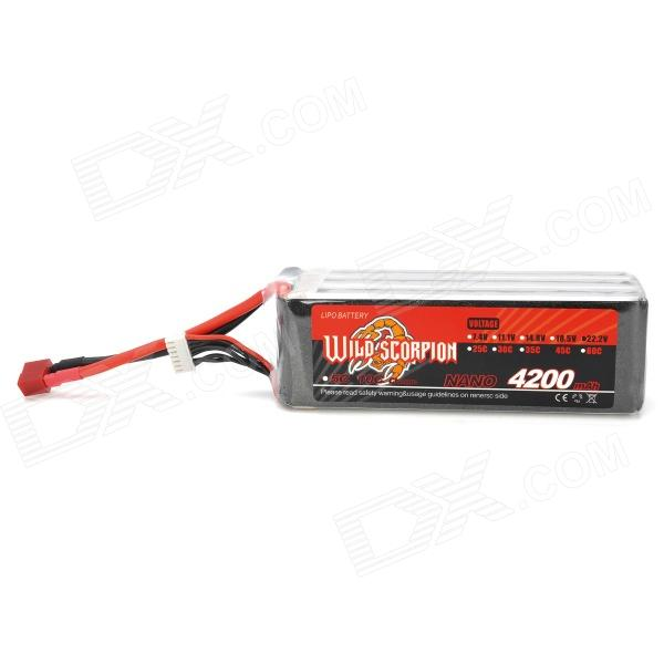 WILD SCORPION Replacement 22.2V 4200mAh Battery for R/C Boat Toy - Red + Black + Silver