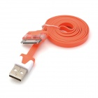 USB 2.0 to Apple 30Pin Flat Charging + Data Cable w/ LED for iPhone 4 / 4S / 3S - Orange (102cm)