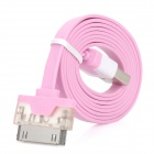 USB 2.0 to Apple 30 Pin Flat Charging + Data Cable w/ LED for iPhone 4 / 4S - Pink (102cm)