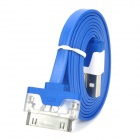 30 Pin Male to USB Male Data / Charging Cable w/ RGB LED Indicator - Dark Blue (102cm)