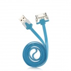 Flat 30-Pin Male to USB 2.0 Male Data Sync / Charging Cable w/ 3-Color LED for iPhone 4 - Light Blue