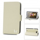 IC Lychee Pattern Protective Leather Flip-Open Case w/ Card Slot for Samsung Note 2 N7100 - Beige