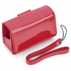 ismartdigi Protective Glossy PU Leather Case w/ Strap for Digital Camera - Red