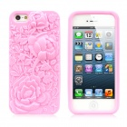 Rose Embossed Style Protective Anti-Skid Silicone Back Case for iPhone 5 - Pink