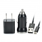 AC / Car Charging Adapter + USB Daten / Ladekabel 8-Pin Blitz-Kabel für iPhone 5 - Black