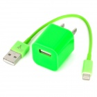 US Plug Power Adapter + 8 Pin Blitz-Stecker auf USB-Stecker-Kabel für das iPhone 5 Stellen - Green