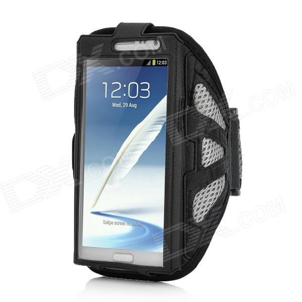 Sports Gym Arm Band Mesh Case for Samsung Galaxy Note II N7100 - Black + Grey sunshine sports velcro protective arm bag for samsung galaxy s5 i9600 red black