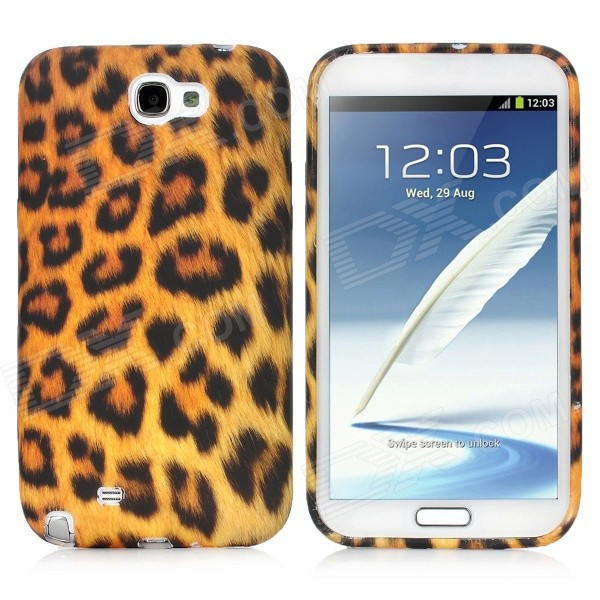 Leopard Pattern Protective Silicone Soft Back Case for Samsung Galaxy Note 2 N7100 - Black + Yellow nillkin protective plastic back case w screen protector for samsung galaxy note 2 n7100 yellow