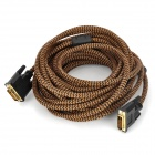 DVI 24+1 Male to Male Connection Cable - Brown + Black (10m)