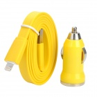 8 Pin Blitz Stecker auf USB Male Flat Cable + Car Charger für iPhone 5 Stellen - Yellow (DC 12 ~ 24V)