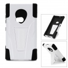 2-in-1 Protective Silicone + Plastic Back Case w/ Stand for Nokia N920 - Black + White