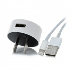Round Shaped AC Ladeadapter + 8-Pin Lightning Data / Ladekabel für iPhone / iPad - Weiß
