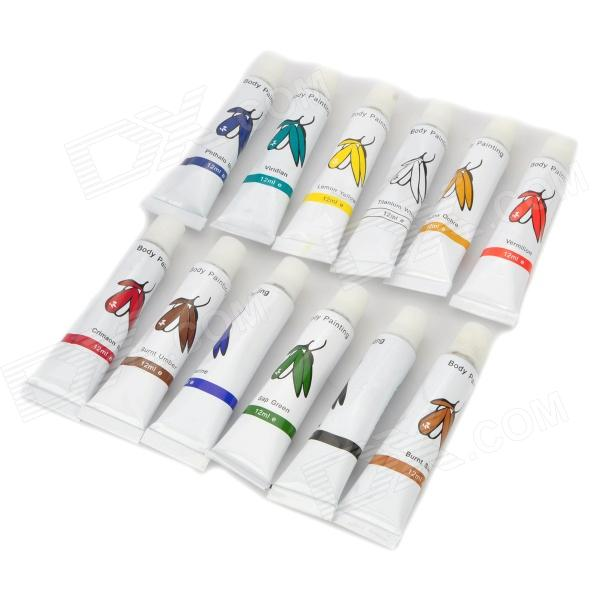 12-Color Party Cosplay Fun Face Body Paint (12 PCS)