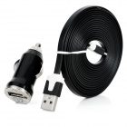 USB Car Charger w / USB 8pin Lightning Flat Datenkabel - Schwarz (12-24V)
