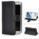 Protective PU Leather Back Case Stand w/ Card Slots for Samsung Galaxy Note 2 N7100 - Black