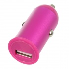 HJ-21 Aluminum Alloy USB Car Charger Power Adapter for Iphone 4 / 4S / 5 - Deep Pink