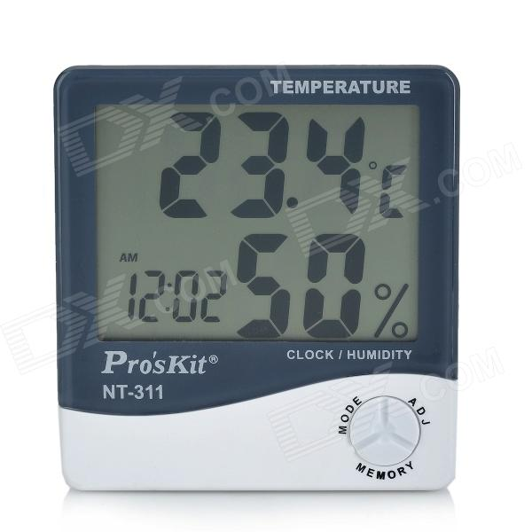 купить Pro's Kit NT-311 3.8'' LCD Digital Temperature Humidity Meter - White + Deep Grey (1 x AAA) недорого