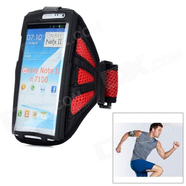 Sports Gym Arm Band Mesh Case for Samsung Galaxy Note II N7100 - Red + Black sunshine sports velcro protective arm bag for samsung galaxy s5 i9600 red black