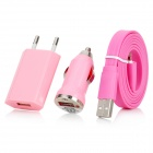 EU Plug Power Adapter + Car Charger + USB to Lightning 8-Pin Data Cable for iPhone 5 + More - Pink