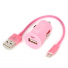 Lightning 8 Pin Male to USB Male Cable + Car Charger Set for iPhone 5 - Pink