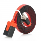 Flat USB 2.0 Male to Female Connection Cable - Black + Red (100cm)